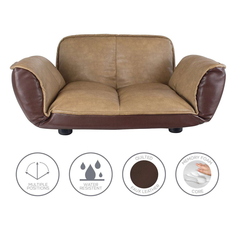 Front view reclining dog sofa with feature bubbles