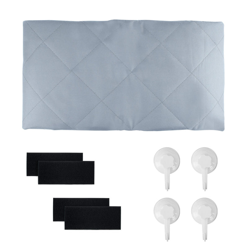 Folded cargo liner, velcro patch, and suction cups