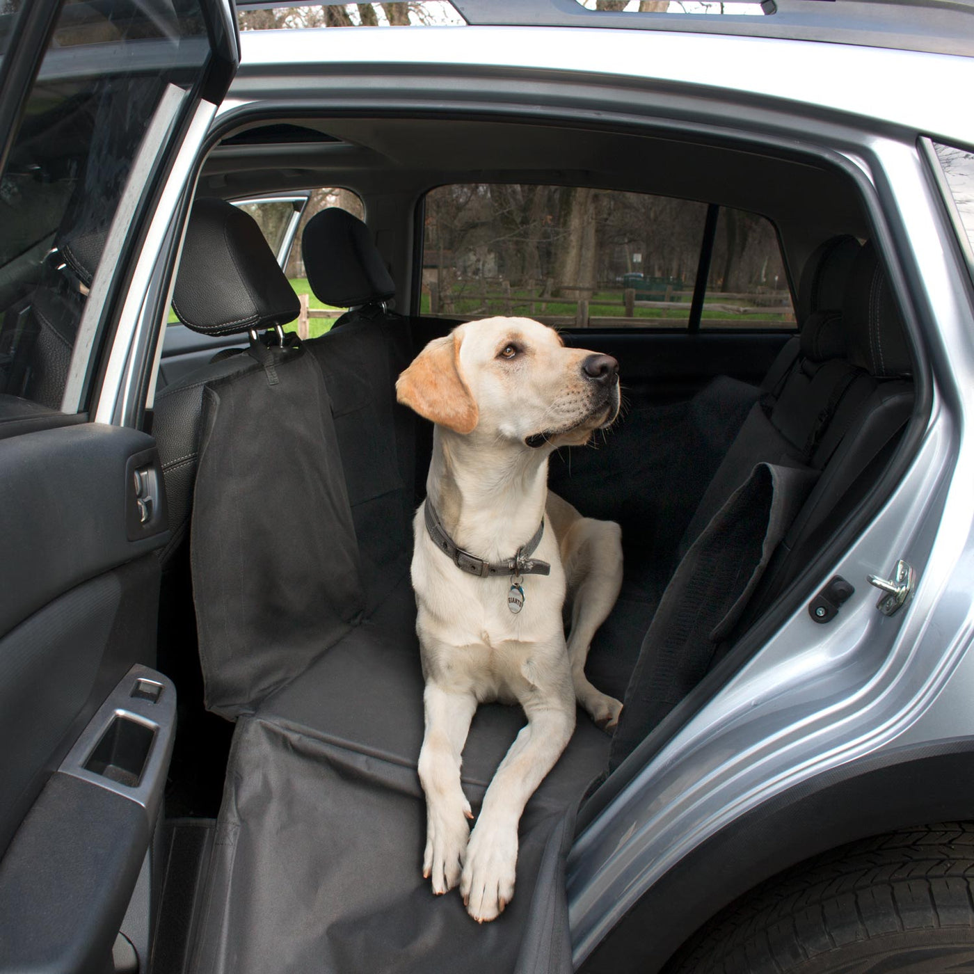 dog sitting on pet bridge with door open exposing the inside of the vehicle     backseat pet bridge with hammock  covers entire back seat      rh   frontpet