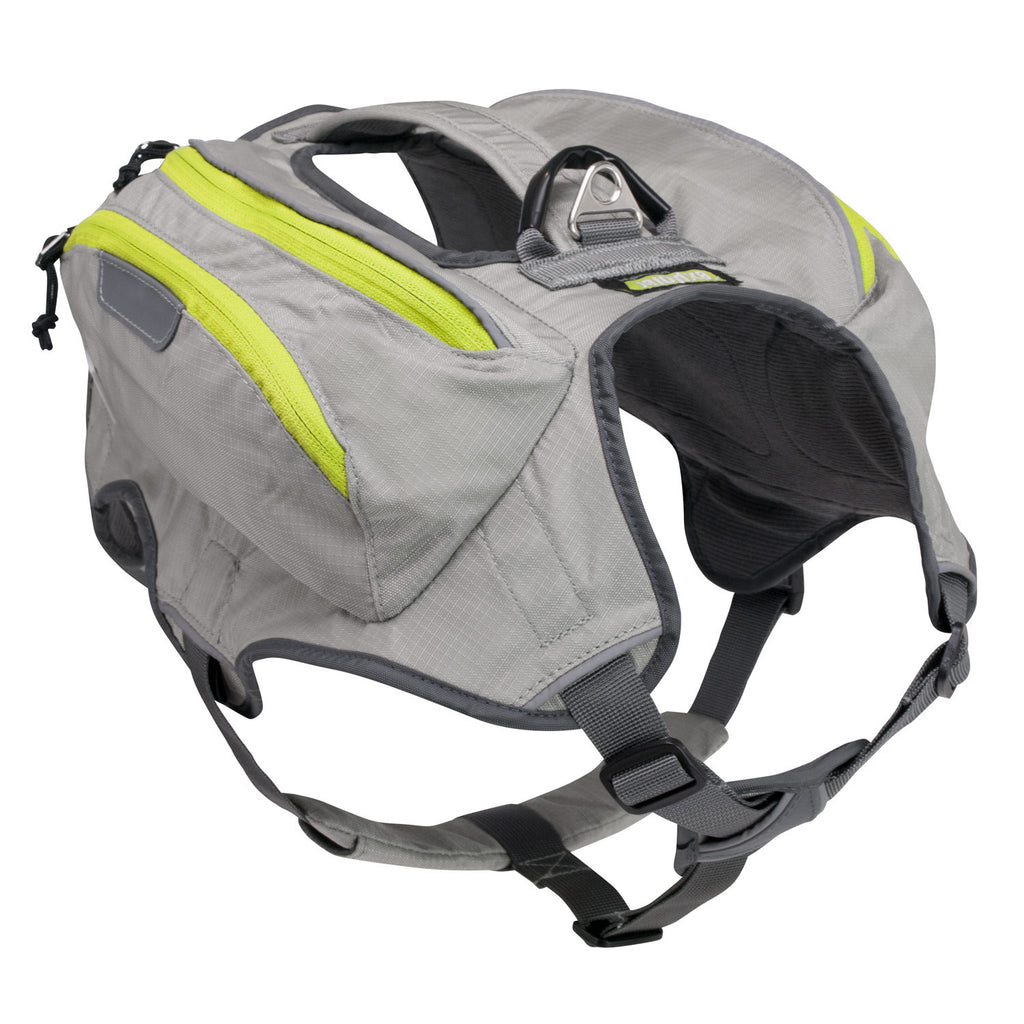 Angled front view of low profile dog backpack harness