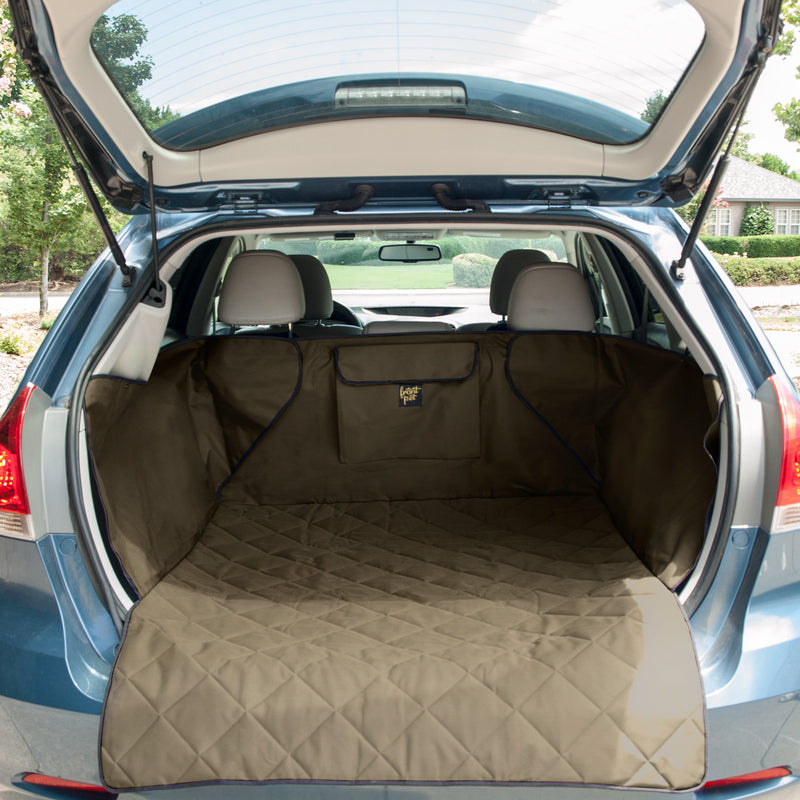 Pet cargo liner set up in back of an SUV (tan)