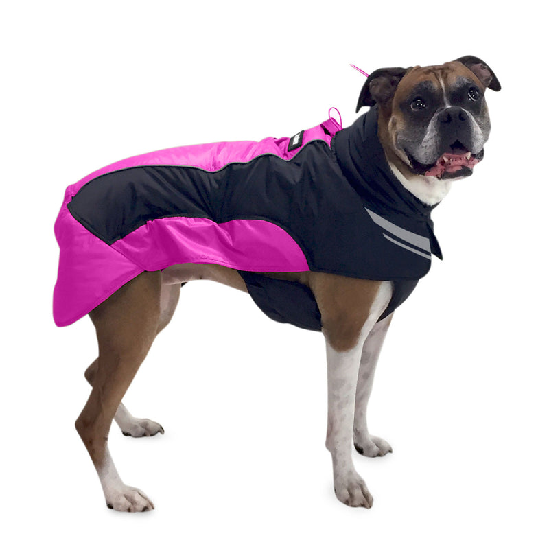Side view of dog wearing winter jacket (pink)