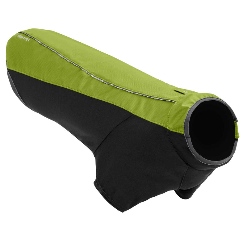Angled view of dog jacket (green)
