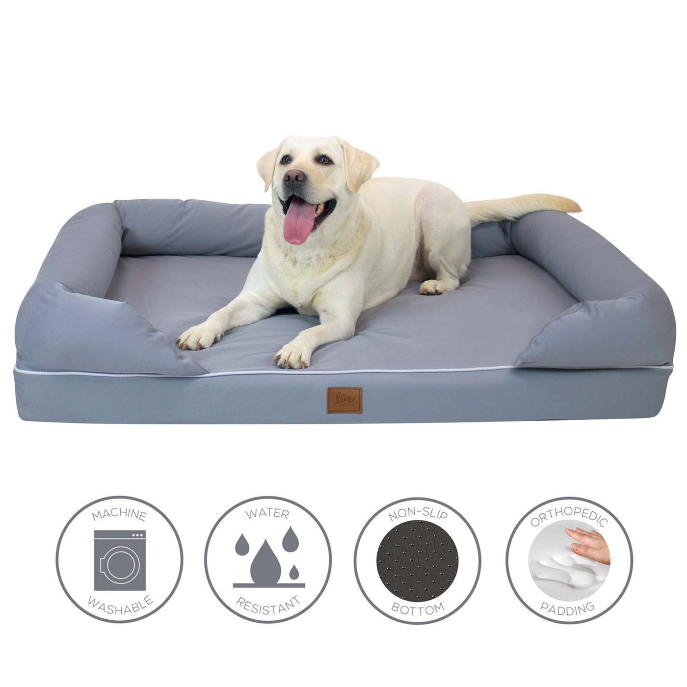 Orthopedic Dog Bed Lounger with Padded Backrest – Frontpet
