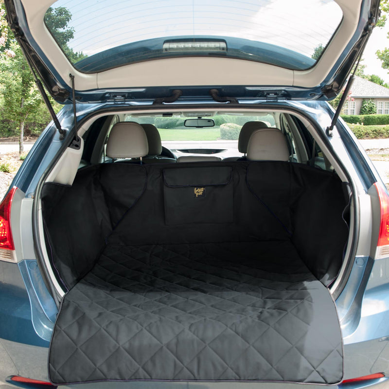 Pet cargo liner set up in back of an SUV (black)