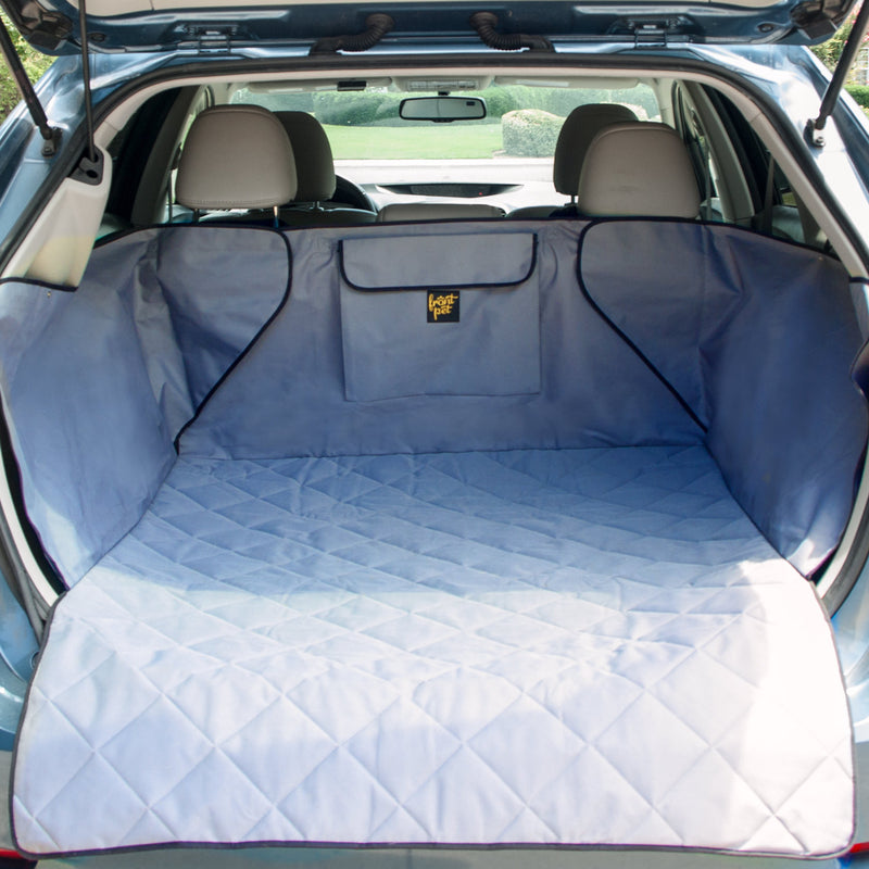 Pet cargo liner set up in back of an SUV (grey)
