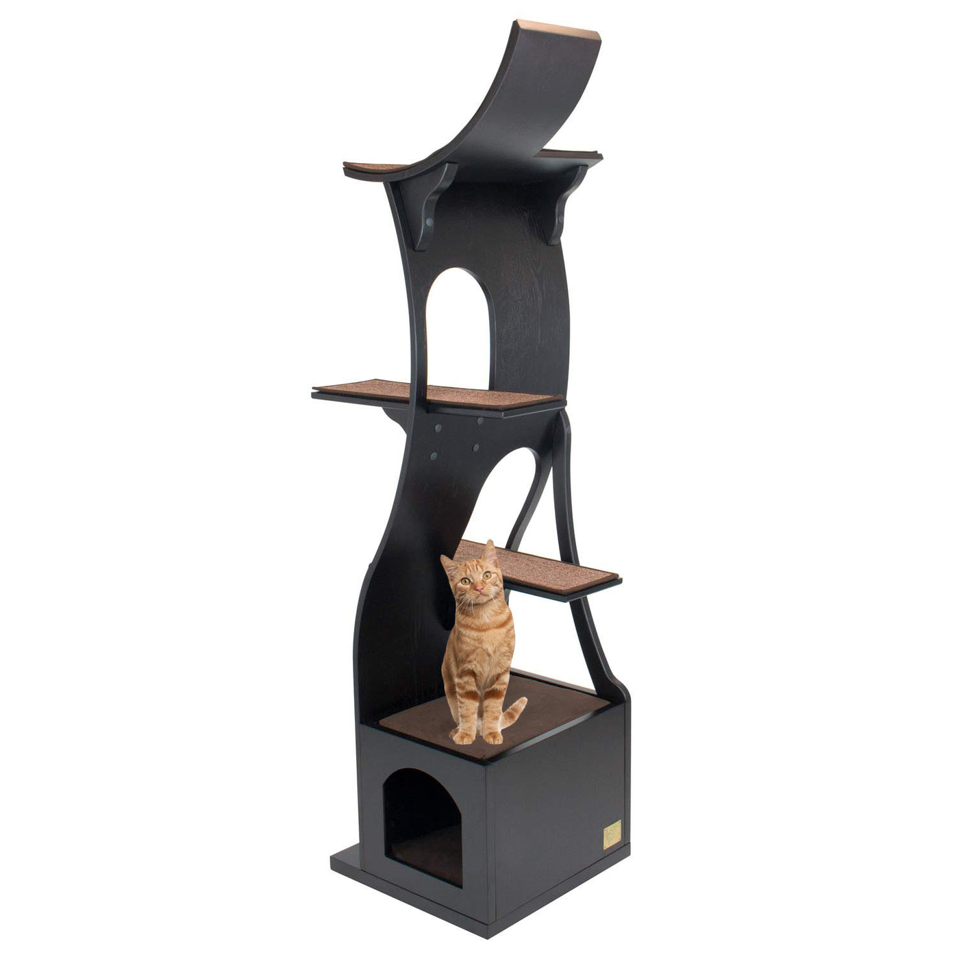 cat tree  stylish wood cat tower with dark brown finish  - stylish wood cat tree tower angled front view with cat