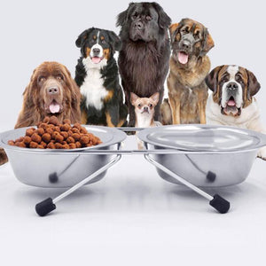 DOG E Double Stainless Steel Bowls With Stand