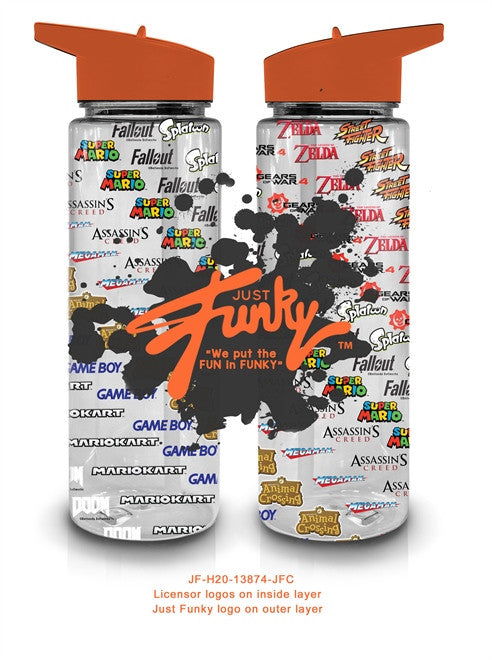 JUST FUNKY Water bottle- plastic tube design
