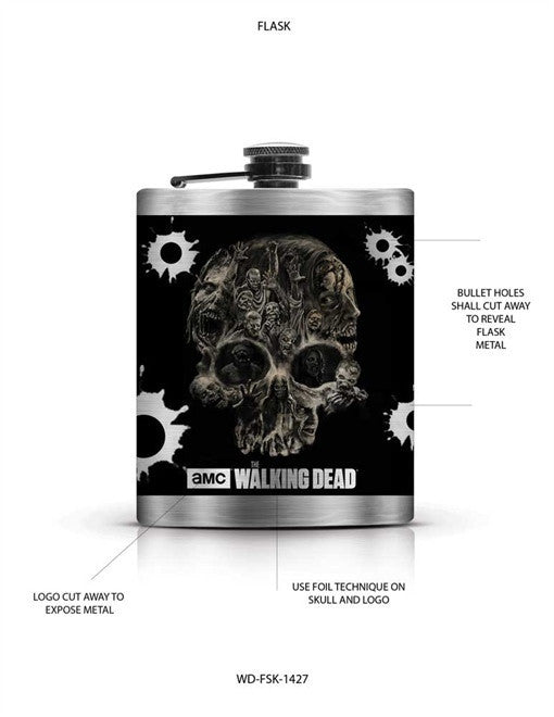 WALKING DEAD SKULL FLASK
