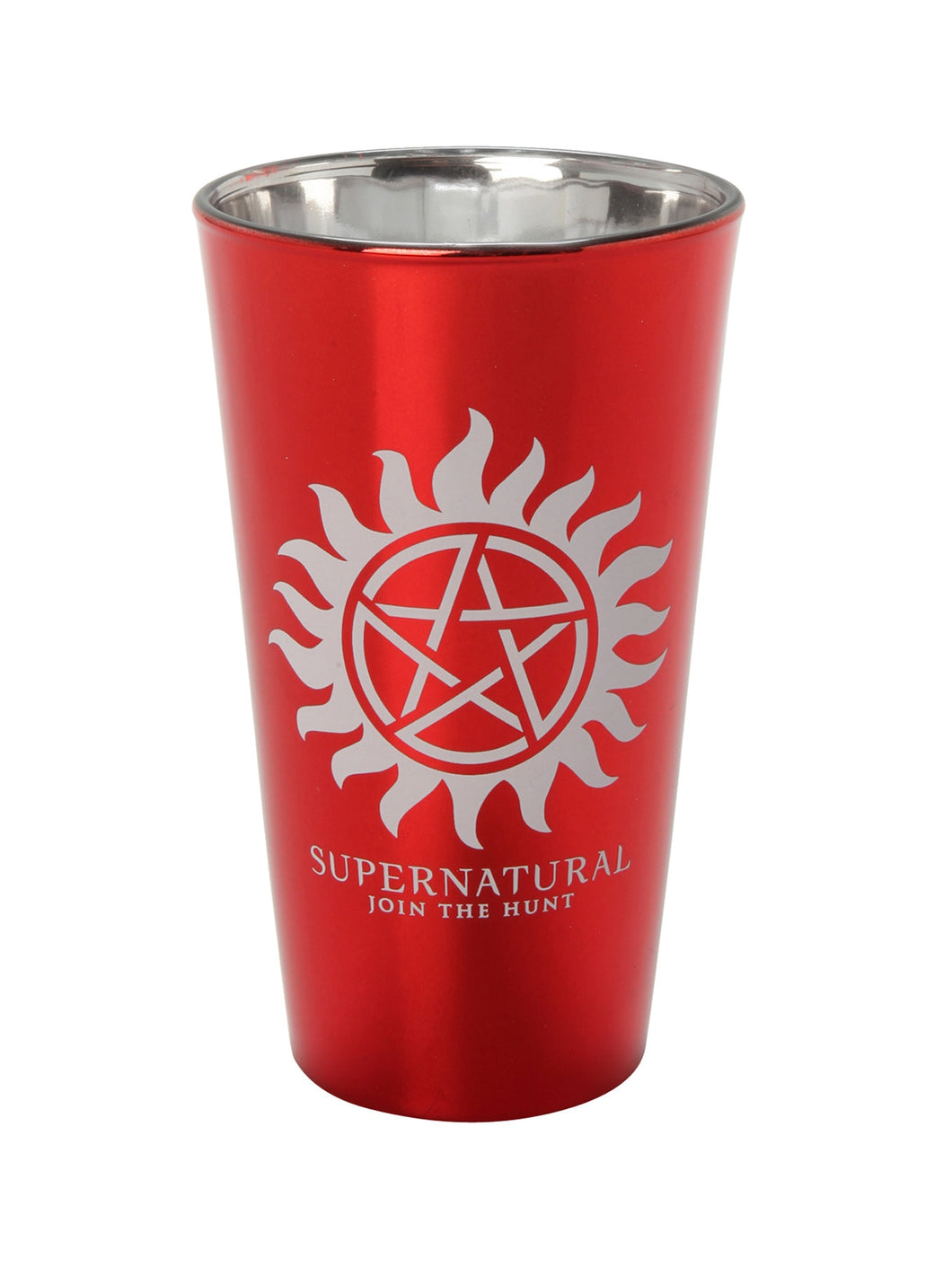 Supernatural JOIN THE HUNT Red Aluminium Plated Pint Glass NO DEMONS DOWN THE HATCH, Set of 1, 16oz