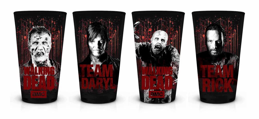 4-PACK TEAM DARYL/RICK/ZOMBIES PINT Glass