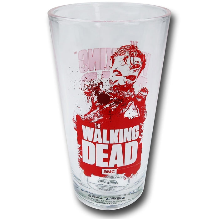 AMC The Walking Dead Zombie cleared Pint Glass, Set of 1, 16oz