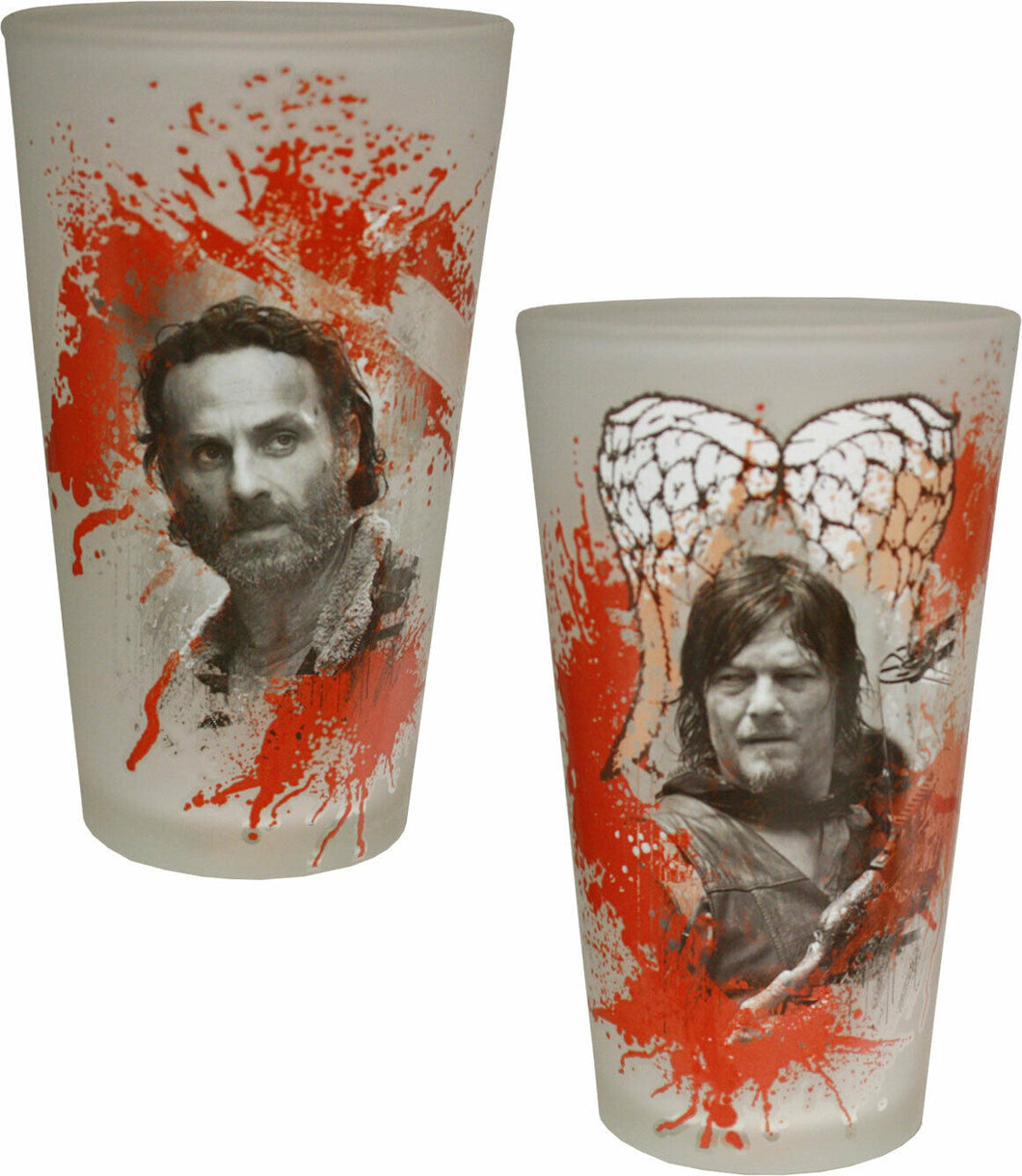 AMC The Walking Dead Rick Grimes & Daryl Dixon Set of 2 Bloody Pint Glasses, 16oz
