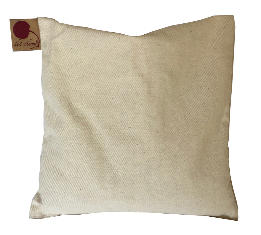 Hot Cherry Square Pillow in Natural Denim