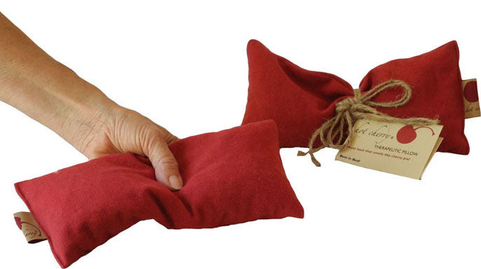 Hot Cherry Eye Pillow in Red Denim