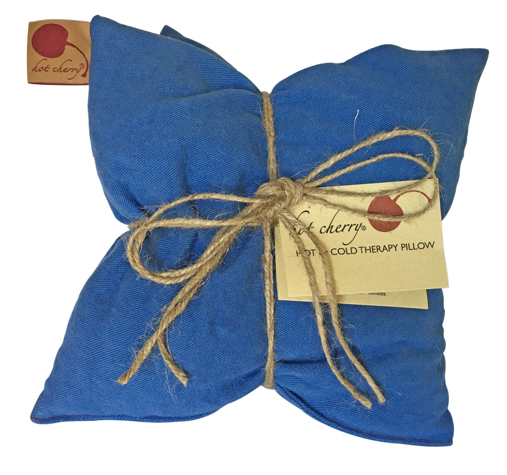 Hot Cherry Double Square Pillow in Blue Denim