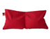 Hot Cherry Double Square Pillow in Red Denim