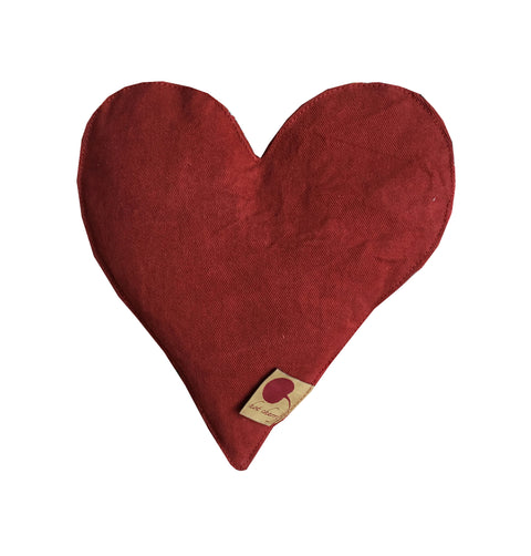 Heart-shaped pillow in Red Denim