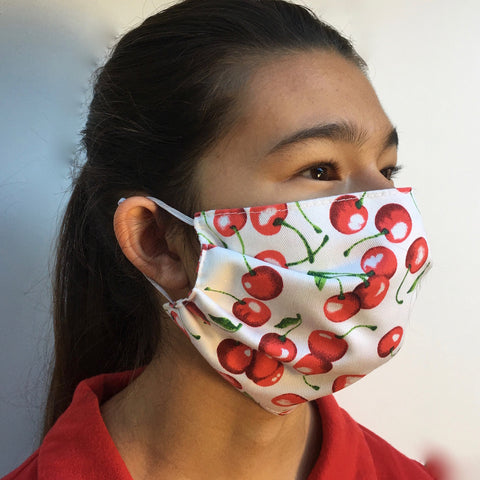 Pleated Cherry-print Cotton Mask
