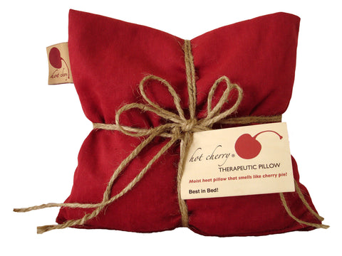 Hot Cherry Square Pillow in Red Denim