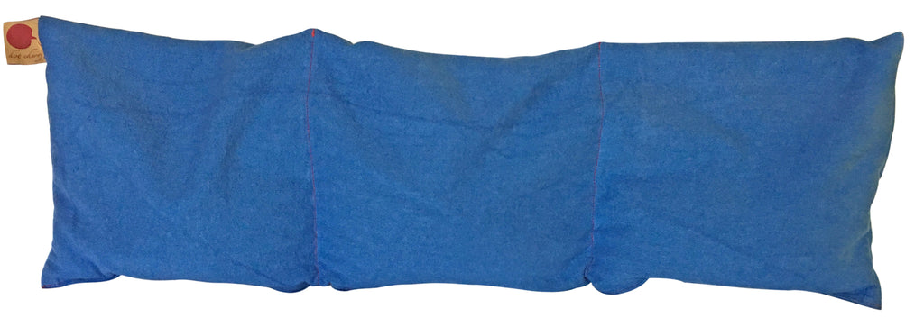 Hot Cherry Triple Square Pillow in Blue Denim