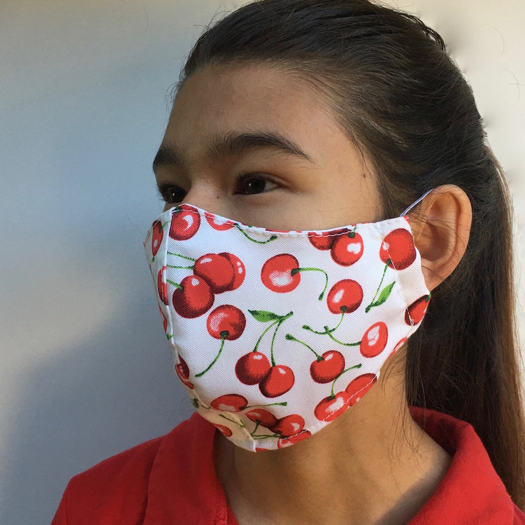 Contoured Face Mask in Cherry-print Cotton