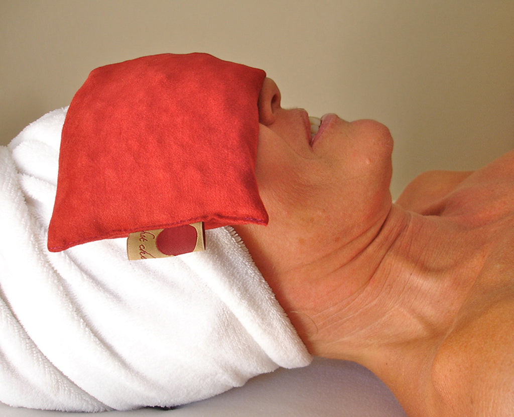 Hot Cherry Eye Pillow in Plush Red Ultra-Suede