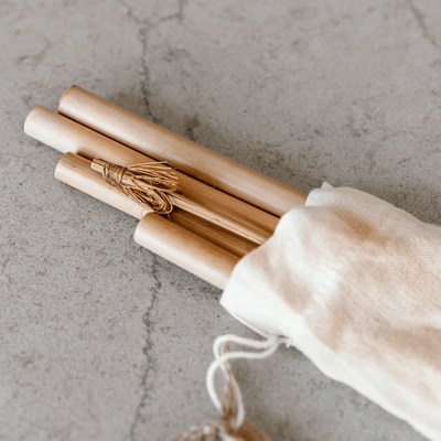Bamboo Straws by Coconut Bowls