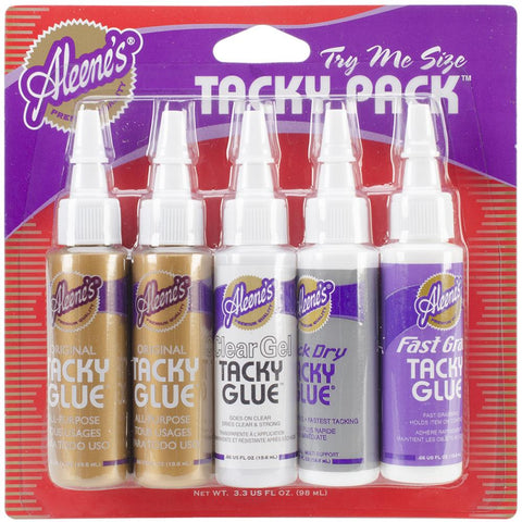 Aleene's Try Me Size Tacky Pack .66oz 5/Pkg Clear Gel, Quick Dry, Fast Grab, 2 Orig