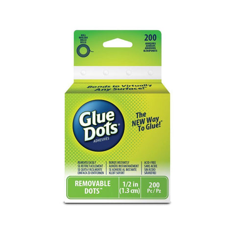 "Glue Dots Clear Dot Roll Removable .5"" 200/Pkg"