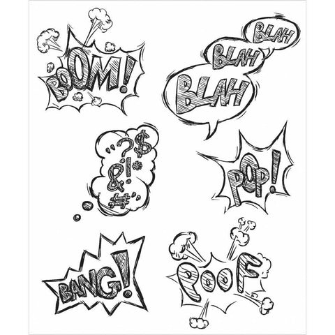Tim Holtz Cling Rubber Stamp Set 7Inch X8.5Inch  Crazy Thoughts