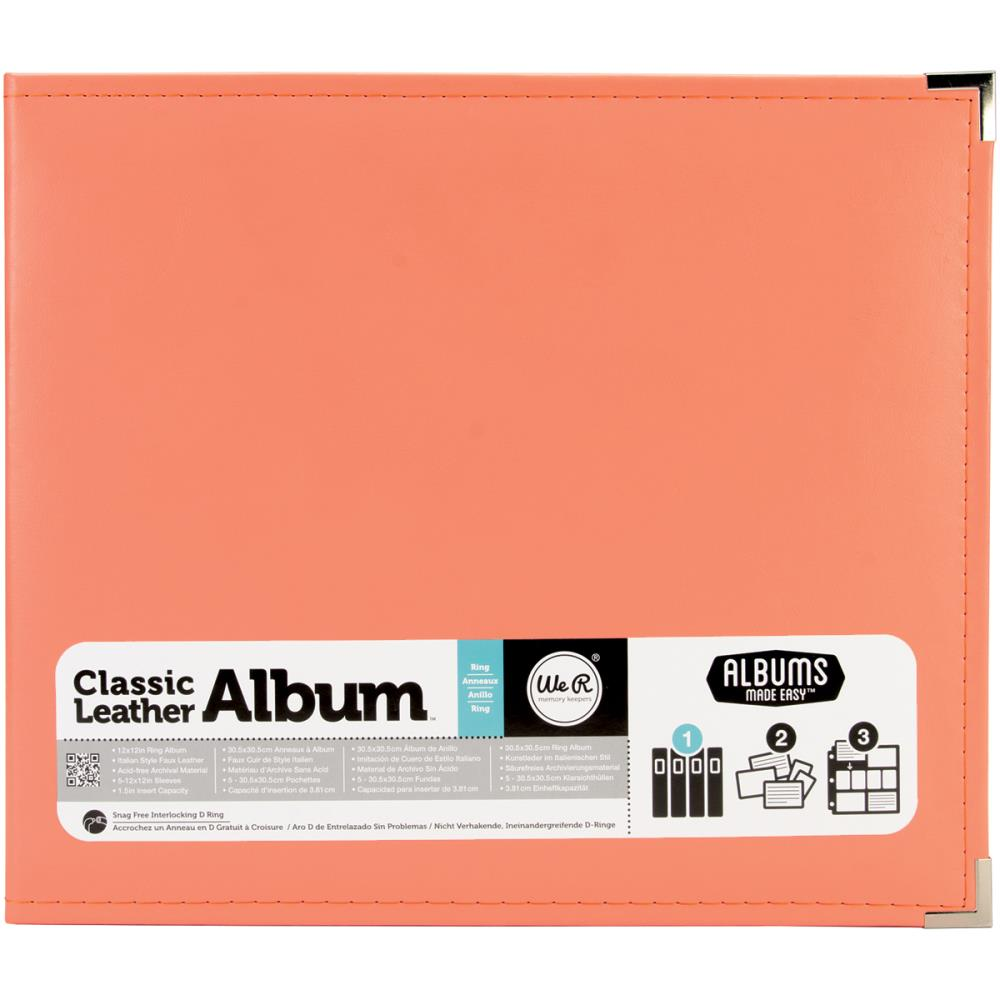"We R Classic Leather D-Ring Album 12""X12"" Coral"