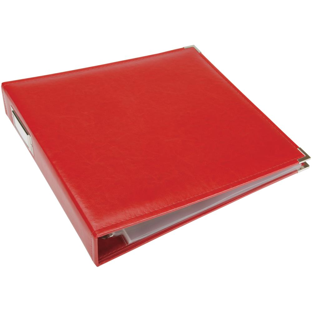 "We R Classic Leather D-Ring Album 12""X12"" Real Red"