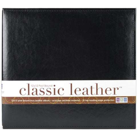 "We R Classic Leather Post Bound Album 12""X12"" Black"