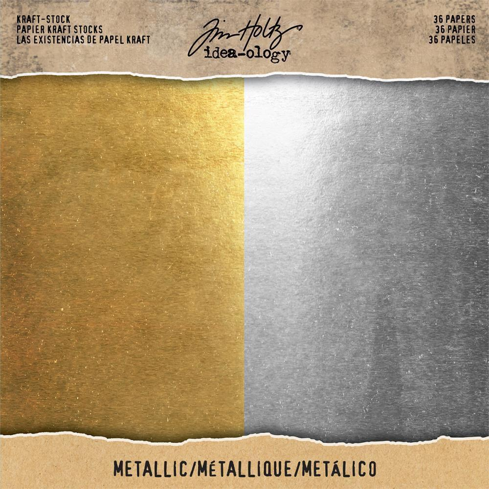 Tim Holtz - Idea-Ology Kraft Stock Cardstock Pad 8 inch X8 inch 36 pack Metallic Gold & Silver