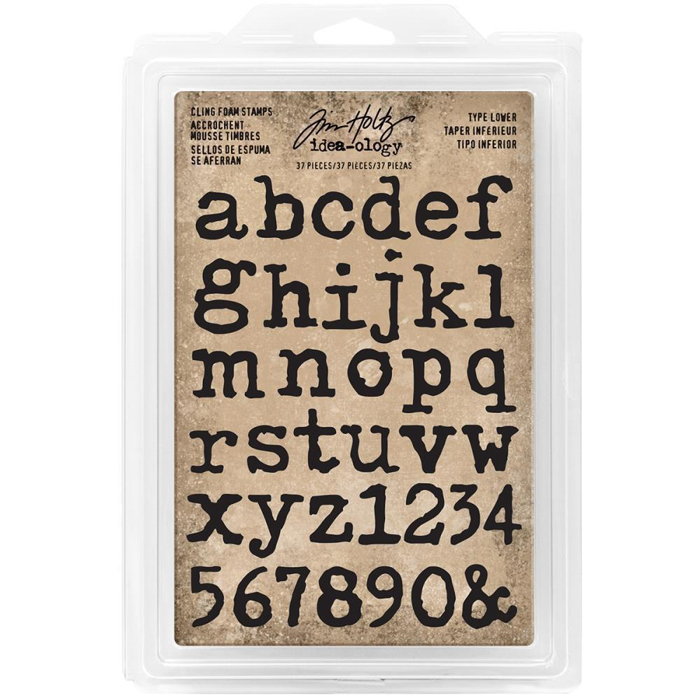 Tim Holtz - Idea-Ology - Cling Foam Stamps 37 pack Type Lowercase Alpha .75 inch To 1 inch