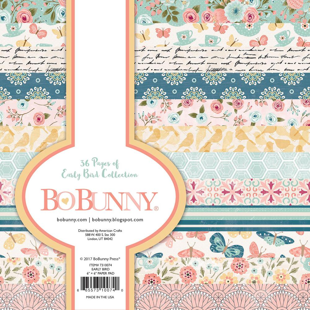 BoBunny Single-Sided Paper Pad 6X6 36/Pkg Early Bird, 12 Designs/3 Each