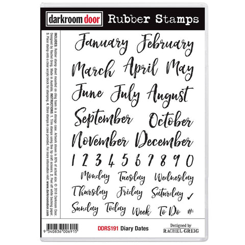 Darkroom Door Cling Stamps 7 inch X5 inch Diary Dates