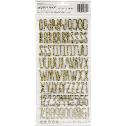 Bo Bunny Little Wonders Thickers Stickers 5.5 inch X11 inch 2 pack Alphabet/Gold Chipboard