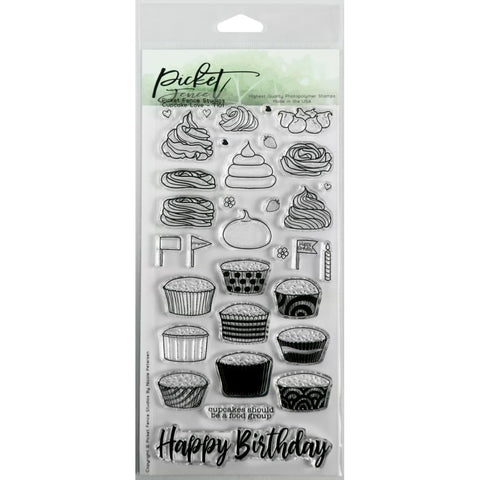 Picket Fence Studios 4X8 Stamp Set Cupcake Love