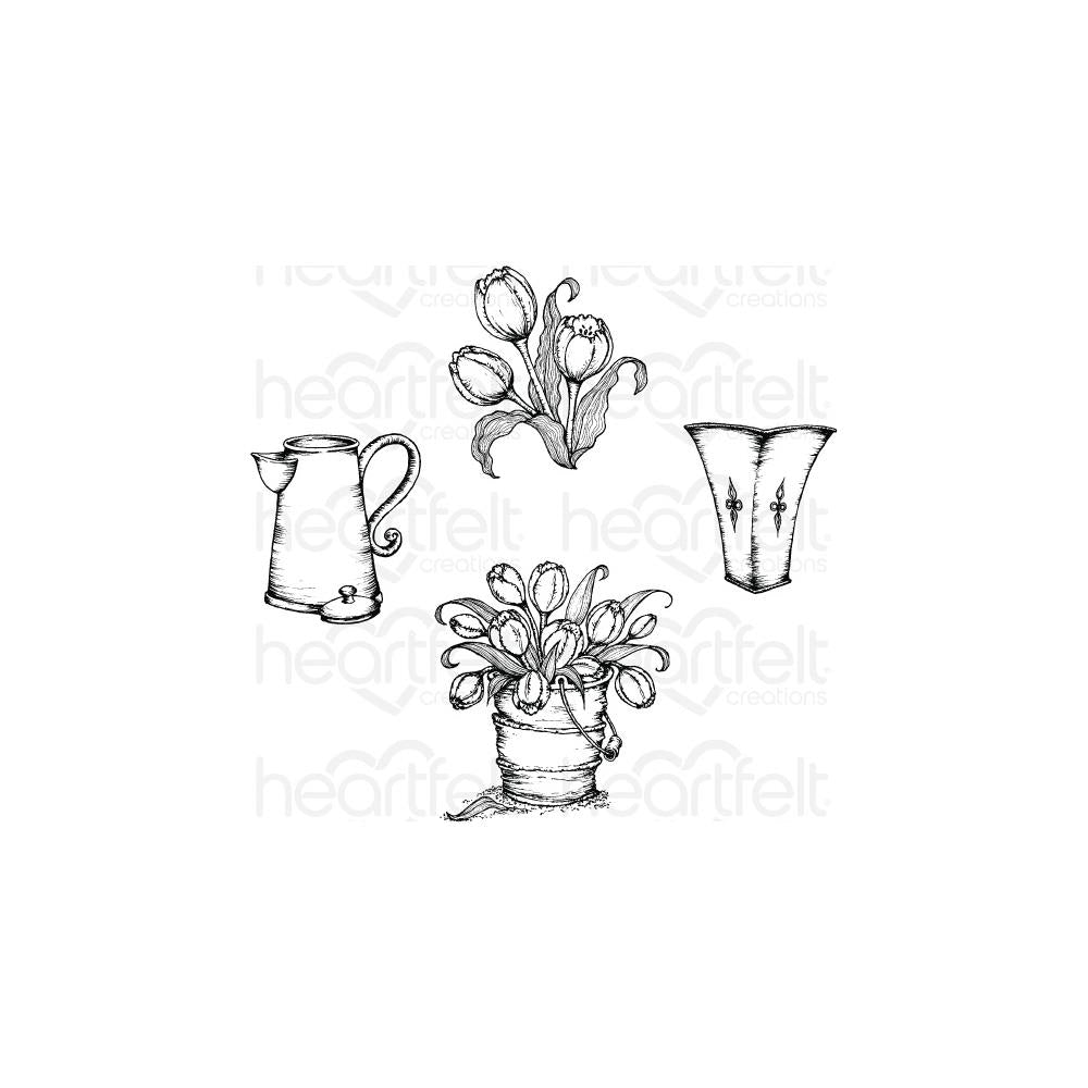 Heartfelt Creations Cling Rubber Stamp Set 5X6.5 Tulip Bouquet 1.75 To 3