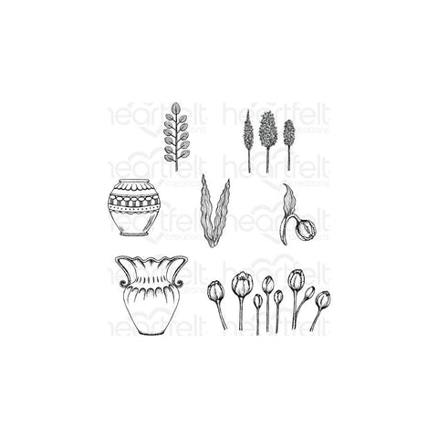 Heartfelt Creations Cling Rubber Stamp Set 5X6.5 Tulip Vase & Fillers .75 To 3.5
