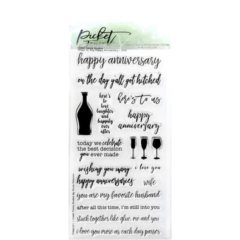 Picket Fence Studios 4inch X8inch Stamp Set Ways To Say Happy Anniversary