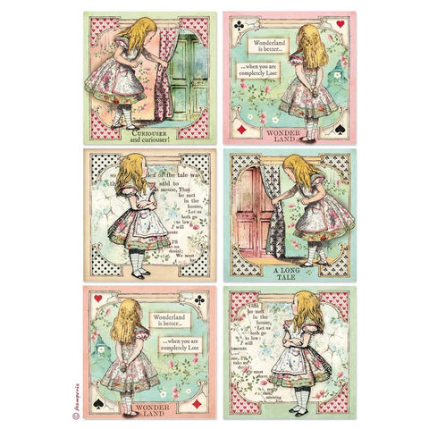 Stamperia Rice Paper Sheet A4 Alice Cards