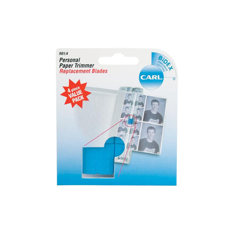 Carl Personal Paper Trimmer Replacement Blades 4/Pkg Straight