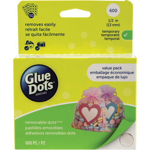 Glue Dots .5 Dot Sheets Value Pack Removeable, 600 Clear Dots