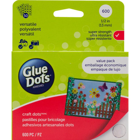 Glue Dots .5 Craft Dot Sheets Value Pack 600 Clear Dots