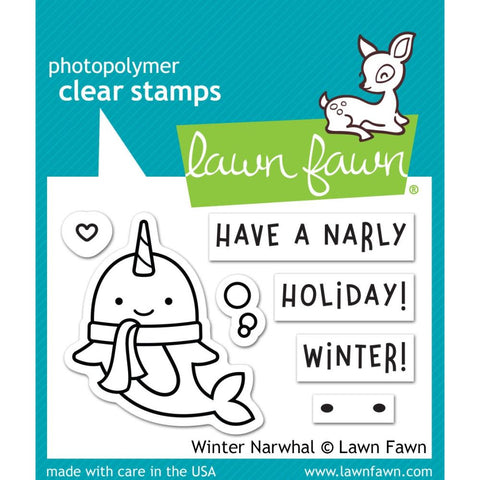 "Lawn Fawn Clear Stamps 3""X2"" Winter Narwhal"