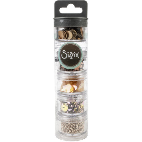 Sizzix Making Essential Sequins & Beads, Rose Gold, 5g per Pot, 5PK